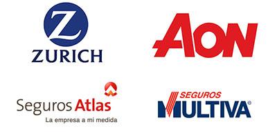 Logos Zurich, Aon, Seguros Atlas, Seguros Multiva